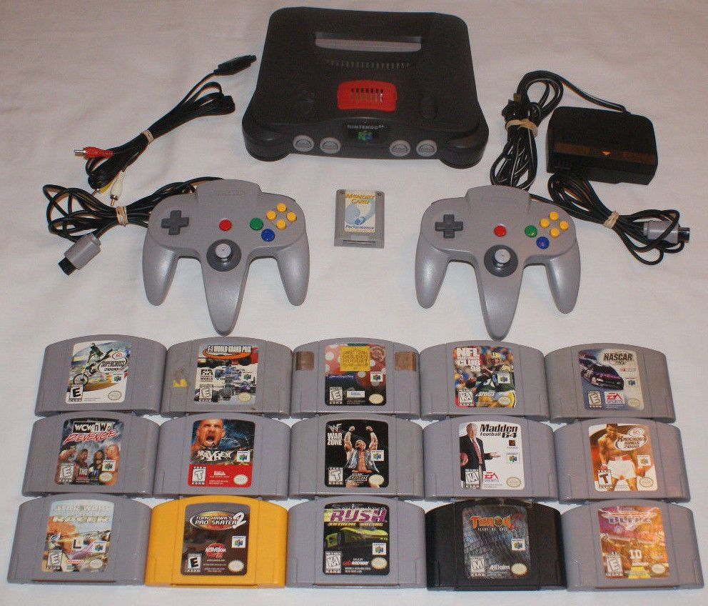 HUGE Nintendo 64 N64 Console LOT 15 Games 2 Controllers