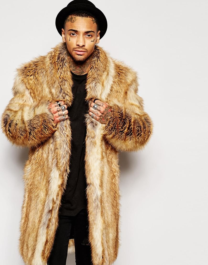 supreme luxury faux fur coat men's fashion slim thick warm fur ...