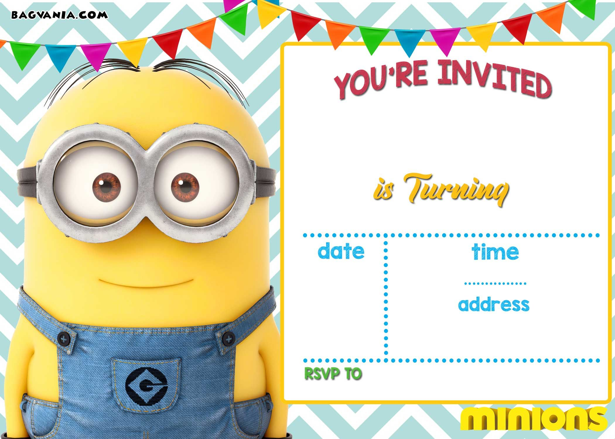 graphic relating to Free Printable Minion Invitations known as Obtain Already Free of charge Printable Minion Birthday Invitation