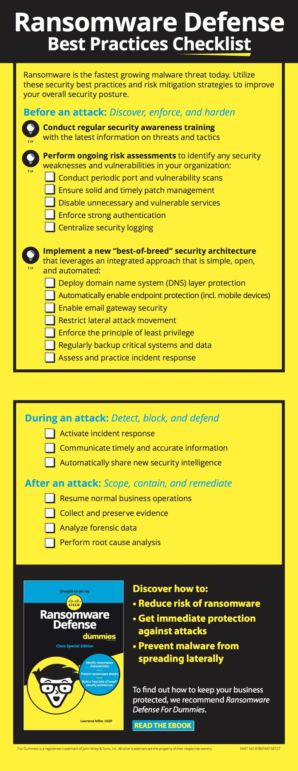 Ransomware Defense Checklist | For Dummies Guides | Infographic