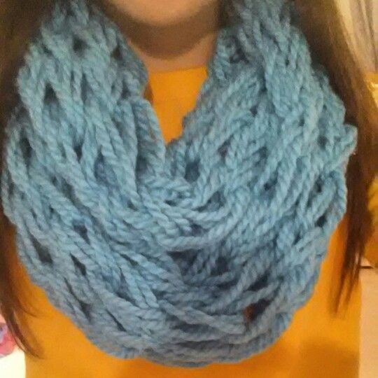 My very first arm knitted scarf. Very simple only took about a half hour. Super thick and warm too!!
