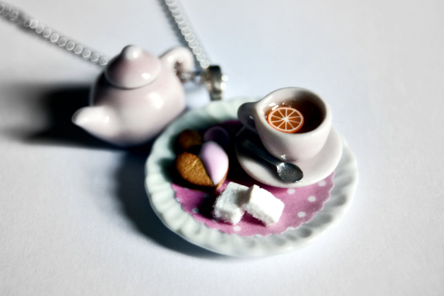 Teapot Charm Necklace, Tea Cup and Cookies on Pink Polka Dot Doily - Cute Miniature Food Jewelry - Polymer Clay Food - Tea party Necklace