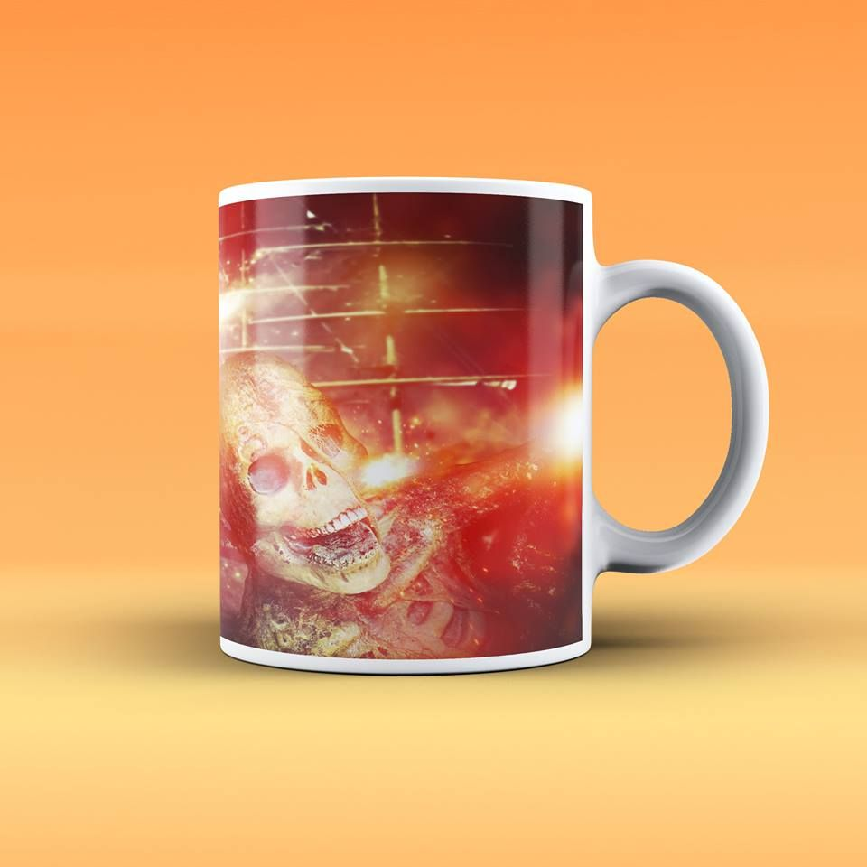 This Mug With Skeleton On Fire Large Handles For Easy