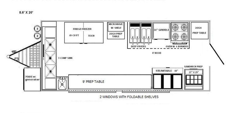 Food truck floor plan glamorous food truck floor plan pool for Food truck layout plans