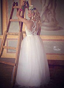 Šaty - Svadobné šaty vyšívané korálkami s tylovou sukňou ZĽAVA - 5597690_