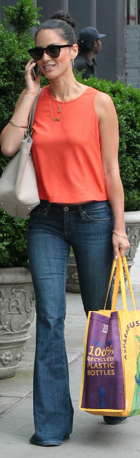 Who made Olivia Munn's orange tank top that she wore in New York on June 16, 2013?