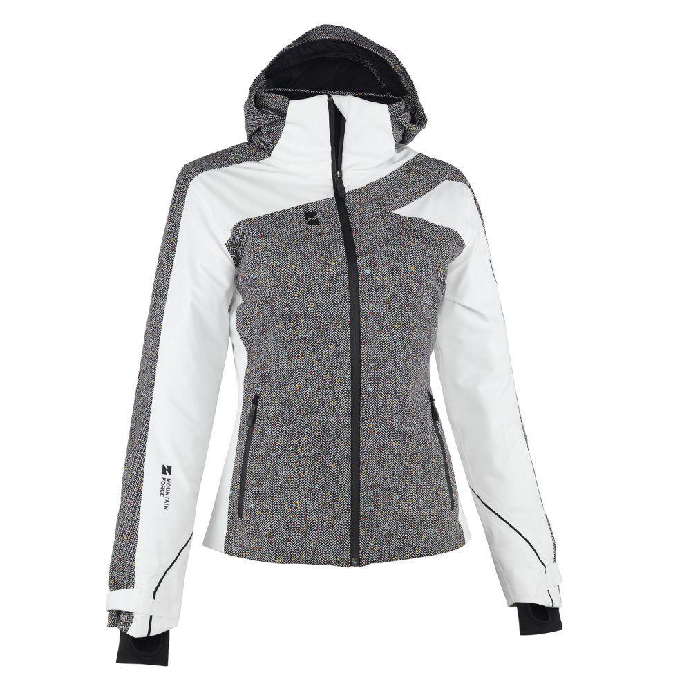 Mountain Force Traverse Insulated Ski Jacket (Women s) - Cloud White  Herringbone Black cfadfc06b