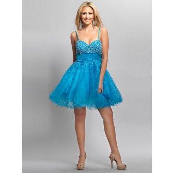 Schöne bestickte Abschlussballkleider kurz Blau mit Tägern ...