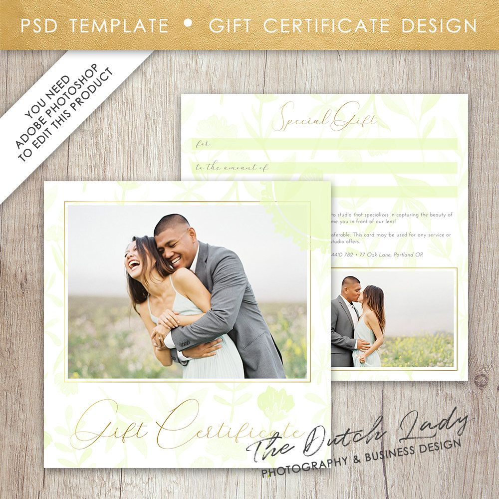 Photography Gift Certificate Template - Photo Gift Card - Watercolor ...