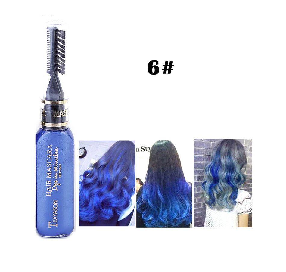 1 X Blue Temporary Colour Hair Dye Mascara Hair Chalk Non Toxic