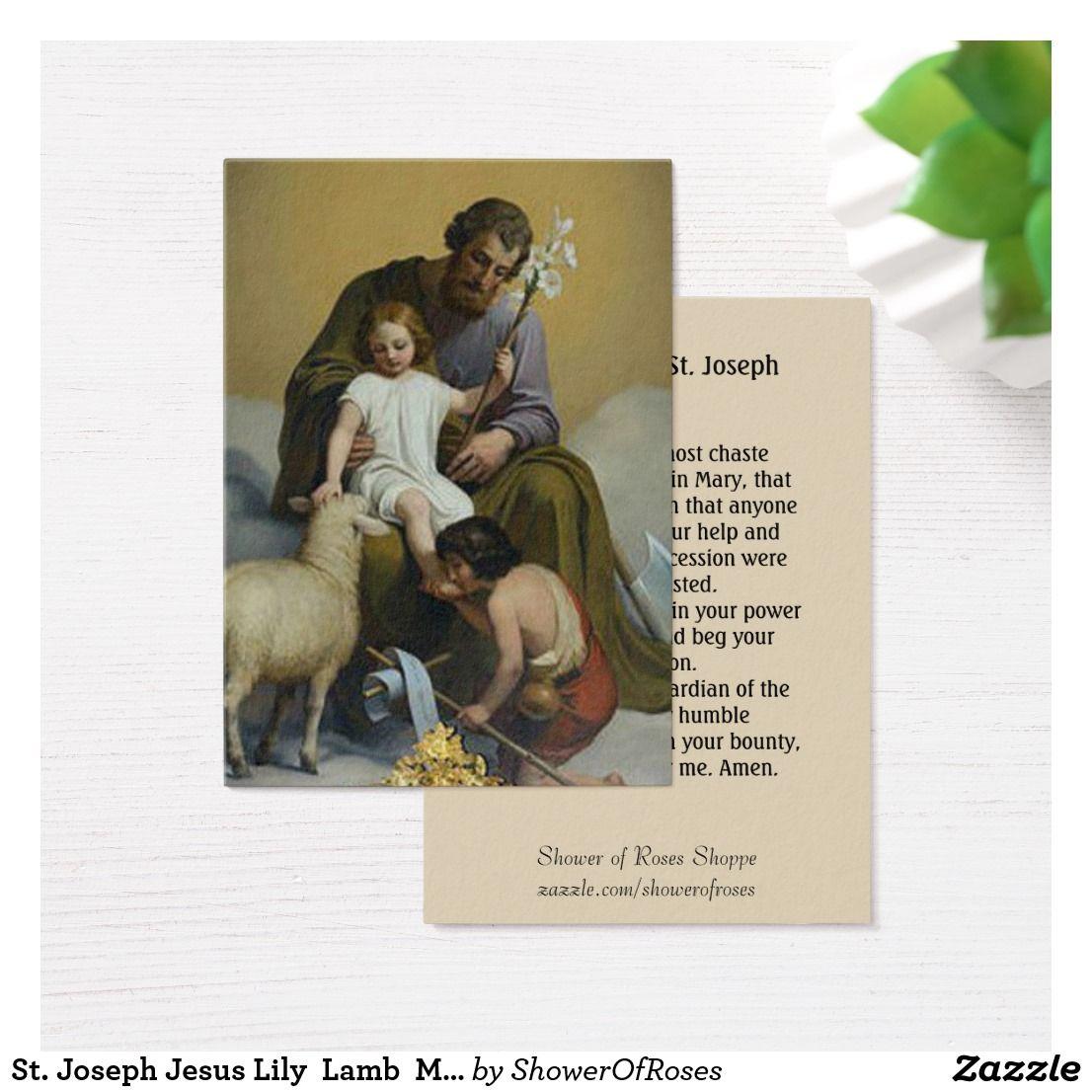 St Joseph Jesus Lily Lamb Memorare Prayer Business Card Shower Of