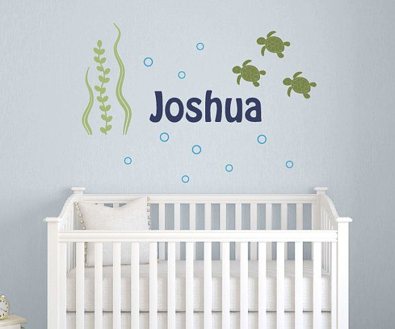 Wall Decal Set Name With Sea Turtles Nursery Children Ocean Friends