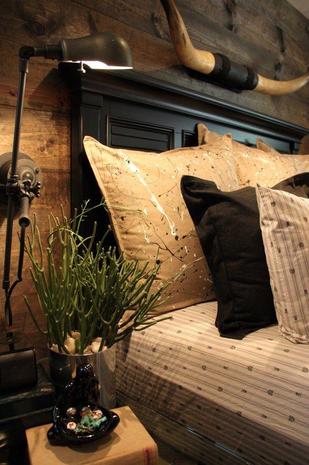 Jackson Pollock Pillows on Master Bed Longways