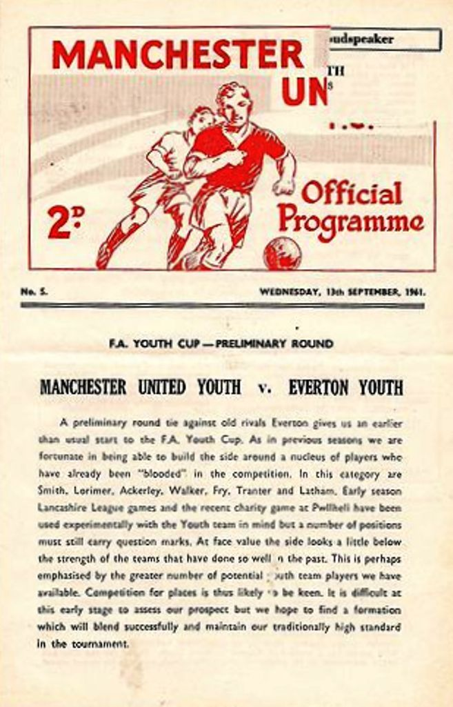 Manchester United youth v Everton youth FA Youth Cup 1961 ...