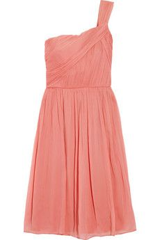 Lucienne one-shoulder silk-chiffon dress in salmon pink!
