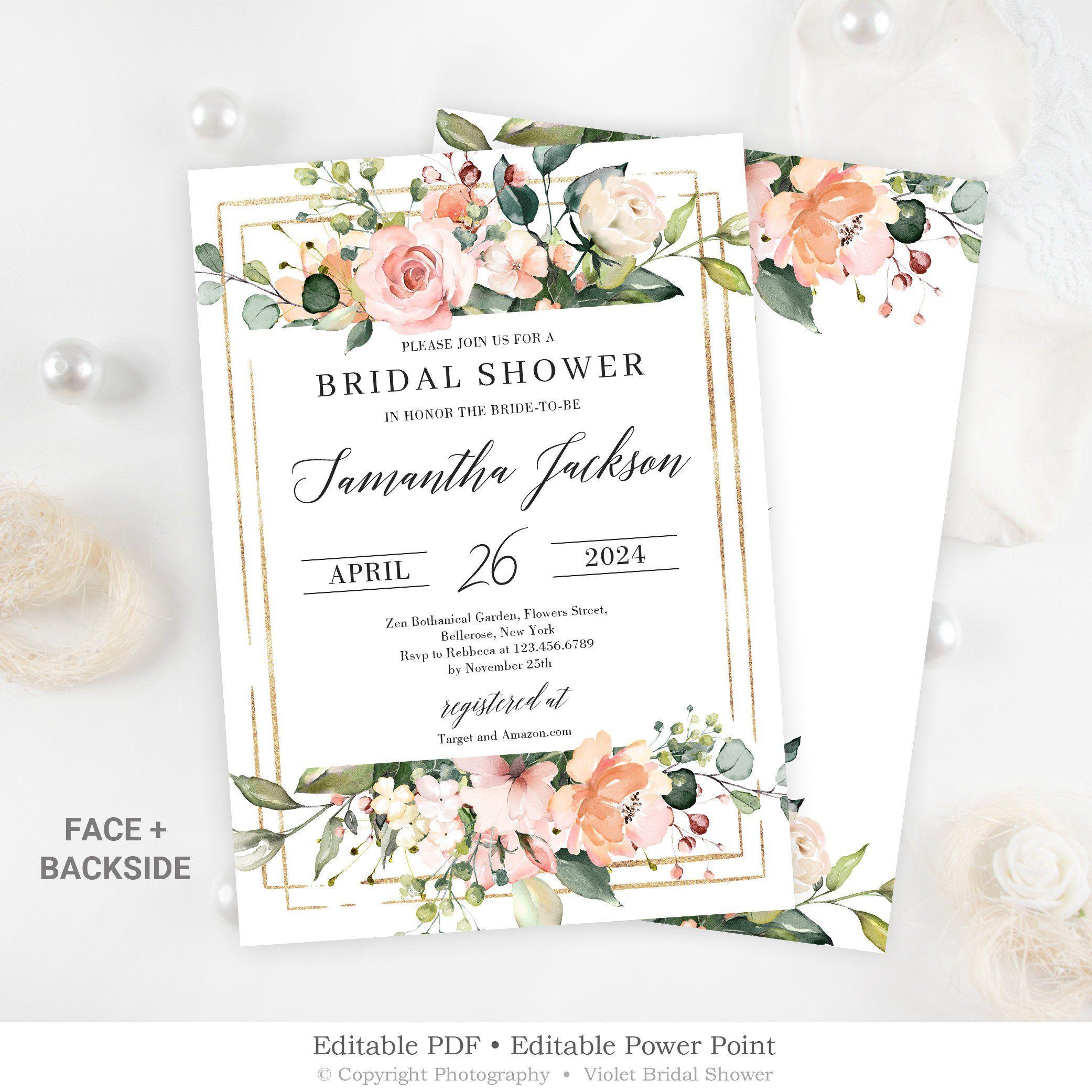 Editable Bridal Shower Invitation Blush Pink Floral Bridal Shower Invitati Bridal Shower Invitation Cards Gold Wedding Shower Floral Bridal Shower Invitations