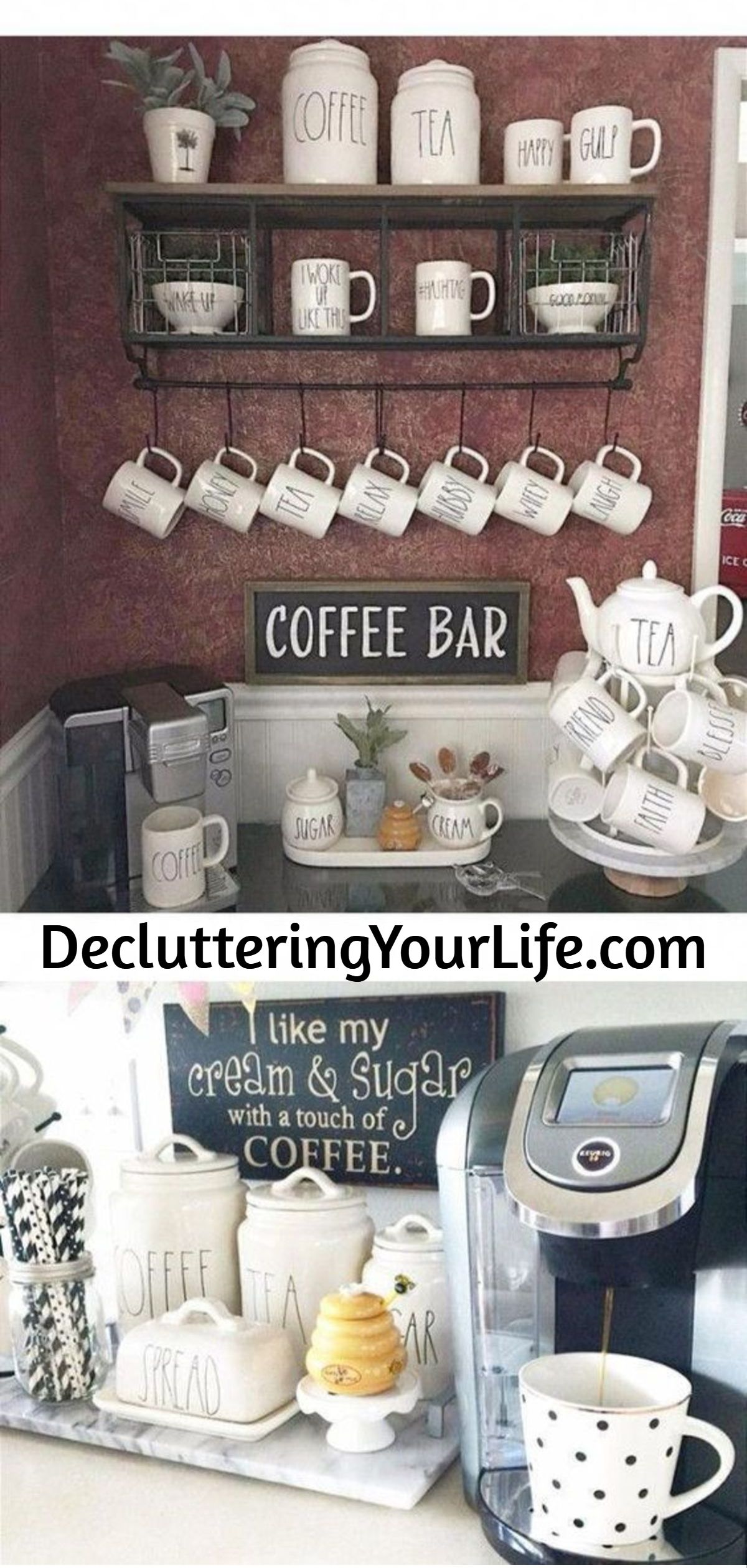 Diy Coffee Bar Ideas Stunning Farmhouse Style Beverage Stations For Small Spaces And Tiny Kitchens Decluttering Your Life Diy Coffee Bar Coffee Bars In Kitchen Coffee Area