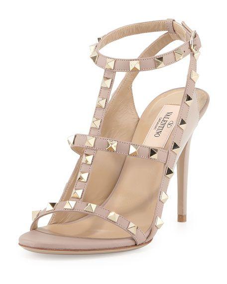 83ce4b935bb Valentino leather sandal with signature Rockstud trim. 4