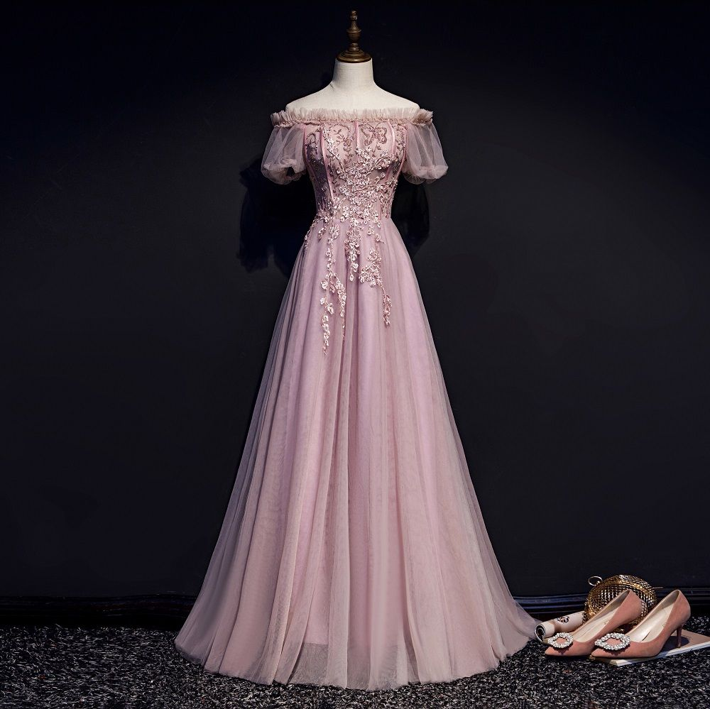 Victorian Style Blushing Pink Evening Dresses 2019 A Line Princess Ruffle Off The Shoulder Beading Lace Flower Short Sleeve Backless Floor Length Long Form Short Sleeve Prom Dresses Pink Evening Dress Prom Dresses [ 999 x 1000 Pixel ]