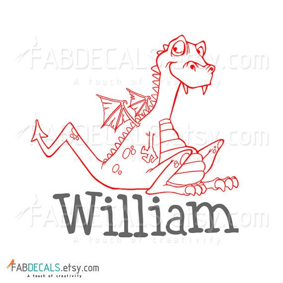 Dragon And Custom Boy Name Vinyl Wall Decal By FabDecalsWords - Custom vinyl wall decals dragon