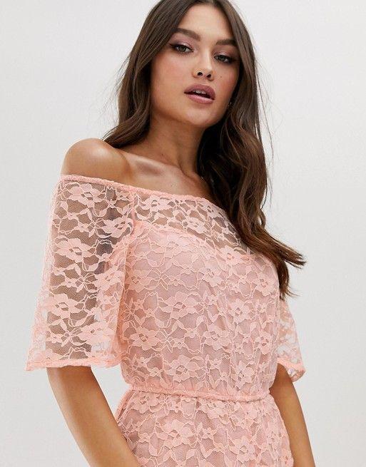 Boohoo Exclusive Bardot Lace Midi Dress In 2019 Fabrica