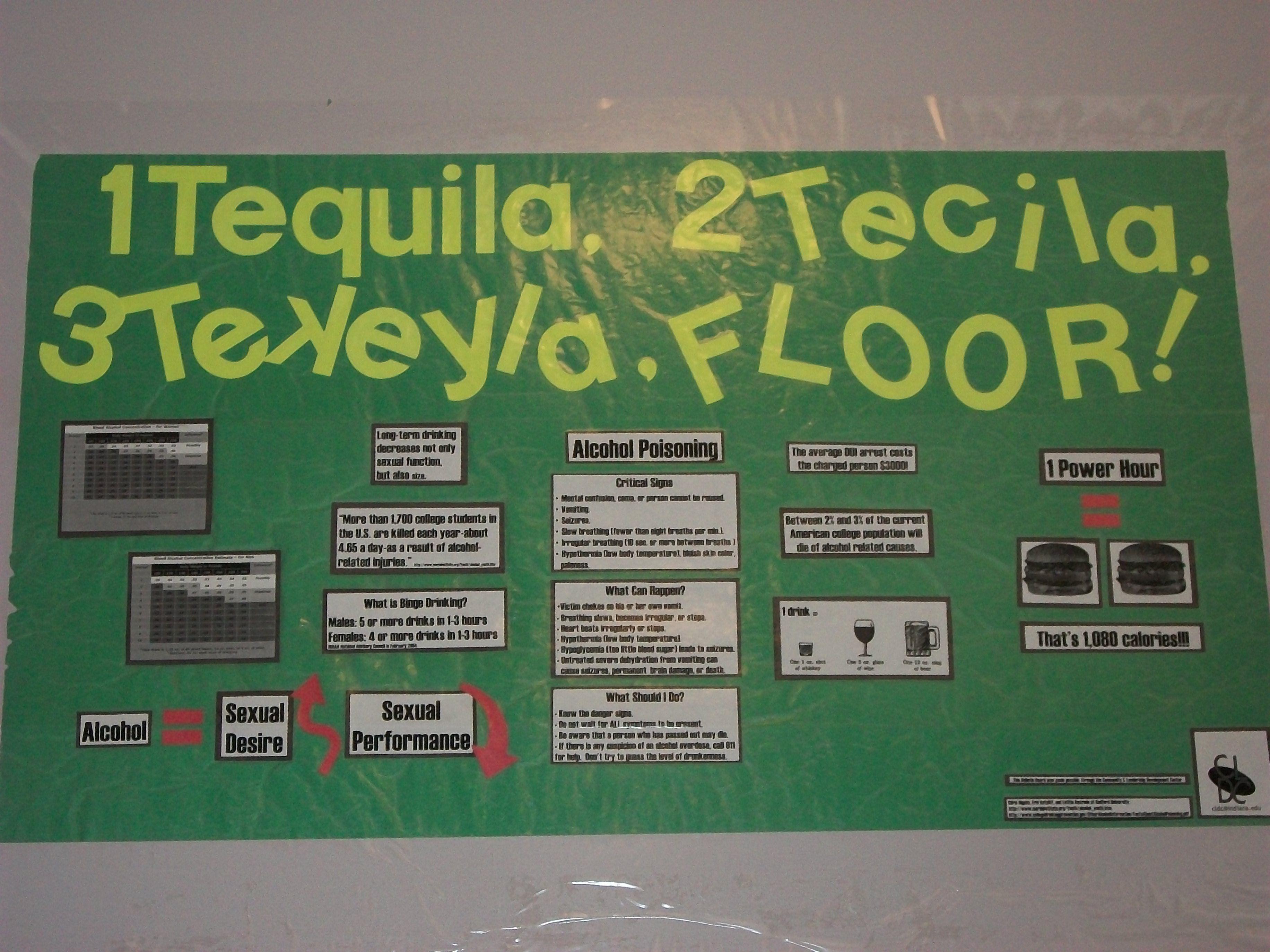 RA bulletin board on alcohol...great sense of humor yet