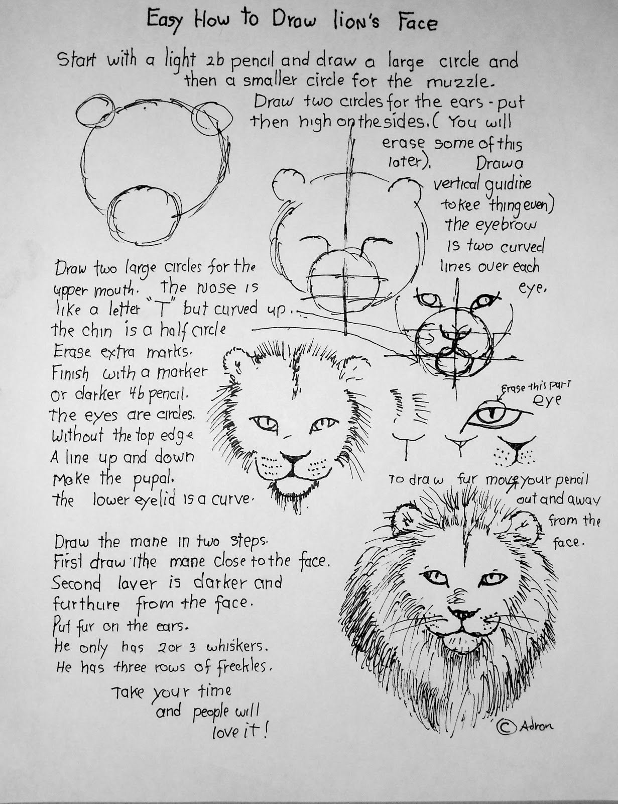 How To Draw A Lion S Face Easy Lesson And Worksheet