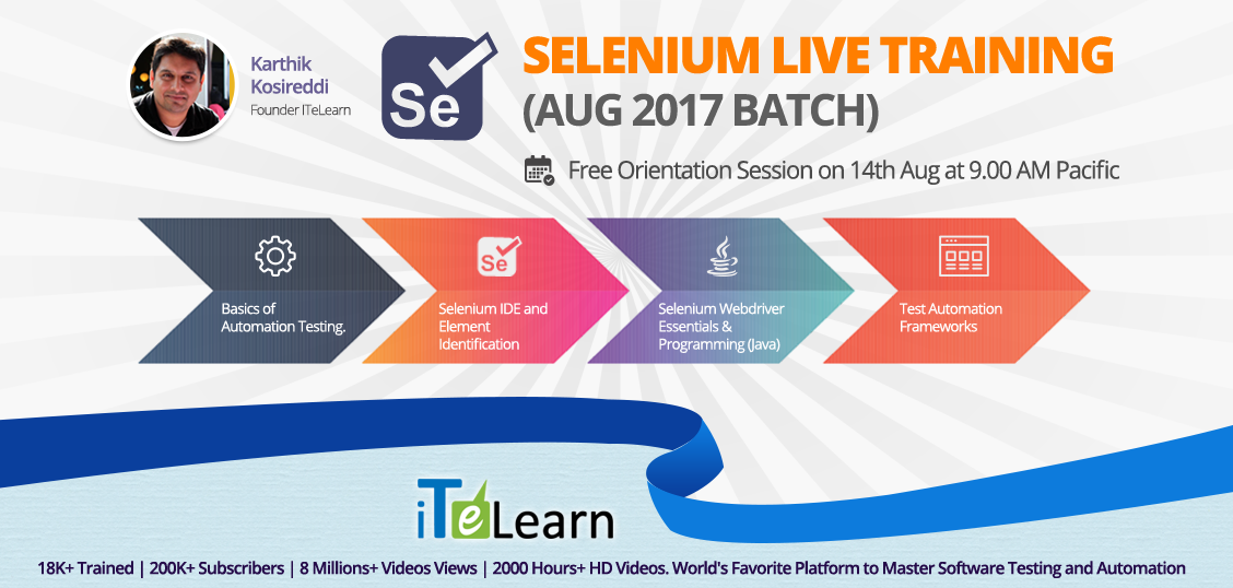 The demand for #Selenium experts is increasing like never before. #iTeLearn, undisputed leaders in #SeleniumTraining offer highly professional #training in Selenium #Testing.  Click here to know more details.  Date & Time: 14th Aug at 9.00 AM Pacific/9.30 PM IST http://itelearn.com/selenium-aug2017