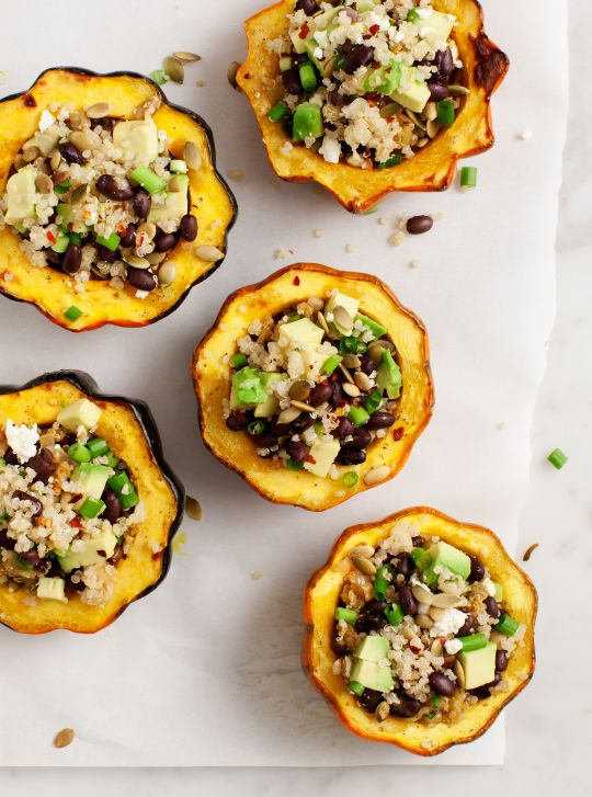 These taste amazing!!!... Avocado & Quinoa Stuffed Acorn Squash Recipe / @loveandlemons