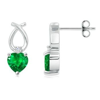 Angara Emerald Solitaire Heart Earrings in Platinum