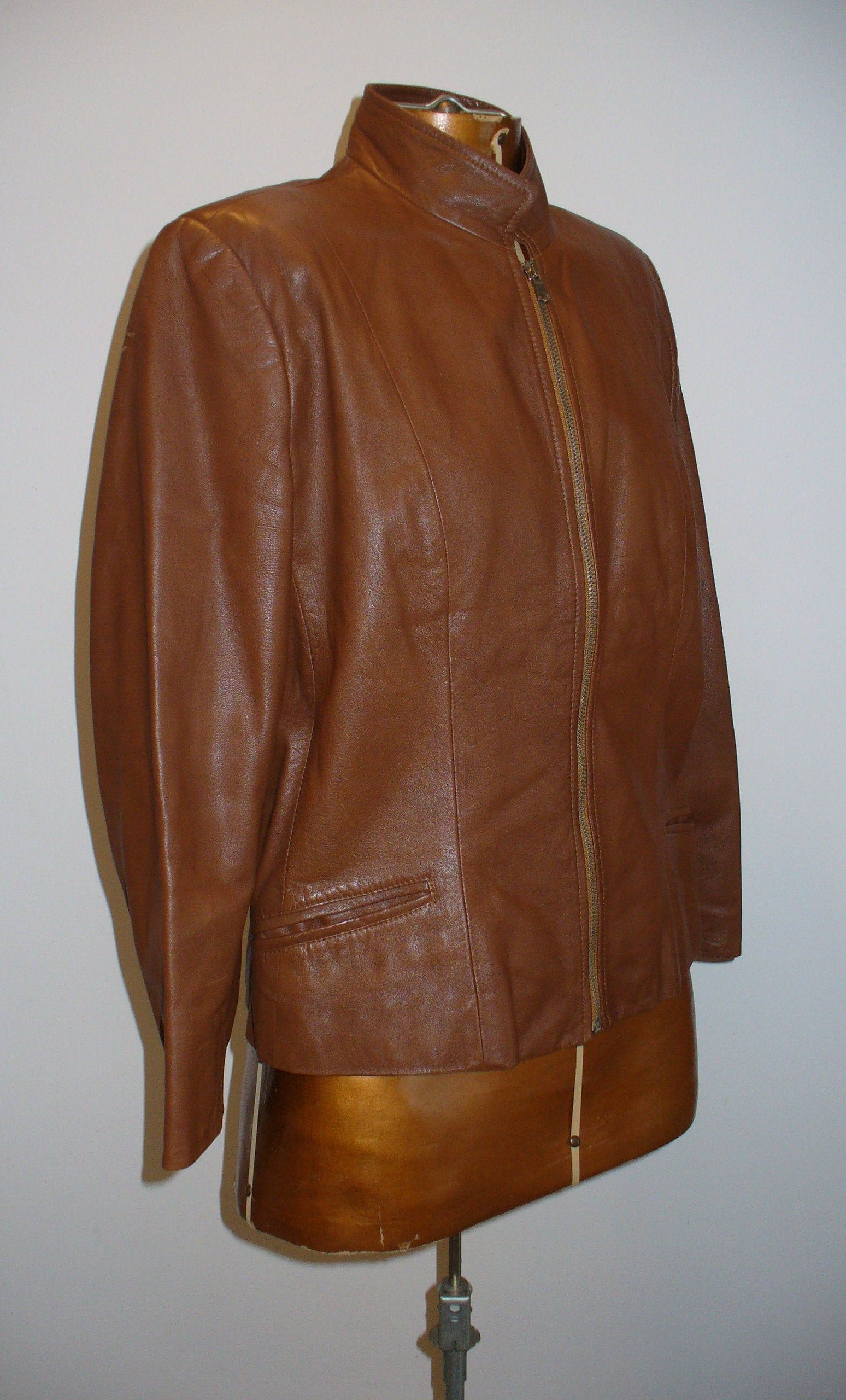 Vintage Scuola Del Cuoio Leather Moto Jacket Made in Italy