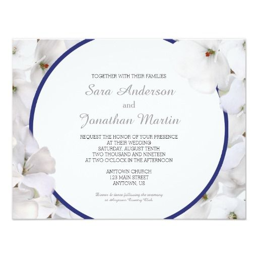 White Geranium with a navy blue accent wedding invitation.