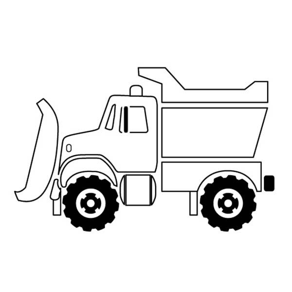 Trucks Snow Plow Truck On Dump Coloring Page