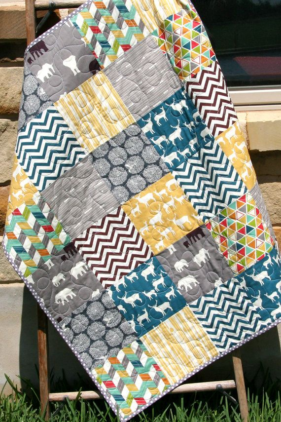Quilt, Baby Boy, Crib Bedding Blanket Grey Teal Blue Brown Yellow ... : teal and brown quilt - Adamdwight.com