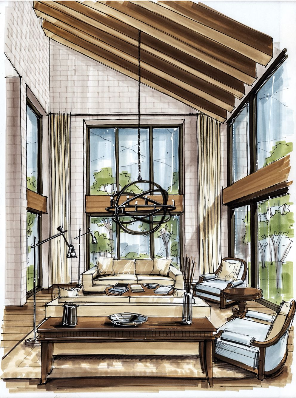 Amazing Use Of Detail By Markets And Pen Creates An Visually Aesthetic Experience Of The Room Clearly Dessin Architecture Dessin Architectural Croquis Maison