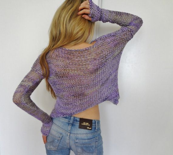 Womens Cropped sweater.Loose knit sweater. Summer sweater ...