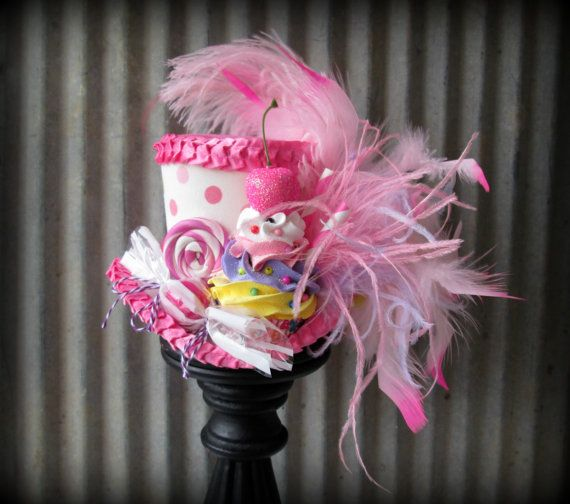 Bubblegum Pink Polkadot Cupcake Mini Top Hat, Mad hatter ...