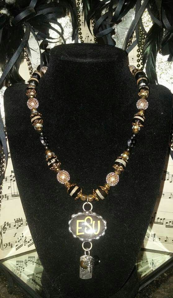 20 inch Necklace Two Strand Hematite Beads and Crystals with Hematite Fan or Bib Focal