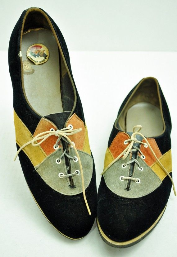 9b1407a7aea1b How adorbs are these vintage saddle shoes?? Buster Brown Bowling Shoes  Vintage 50s Ladies VELVET and Suede Trim LACE UP Rockabilly Shoes 8M