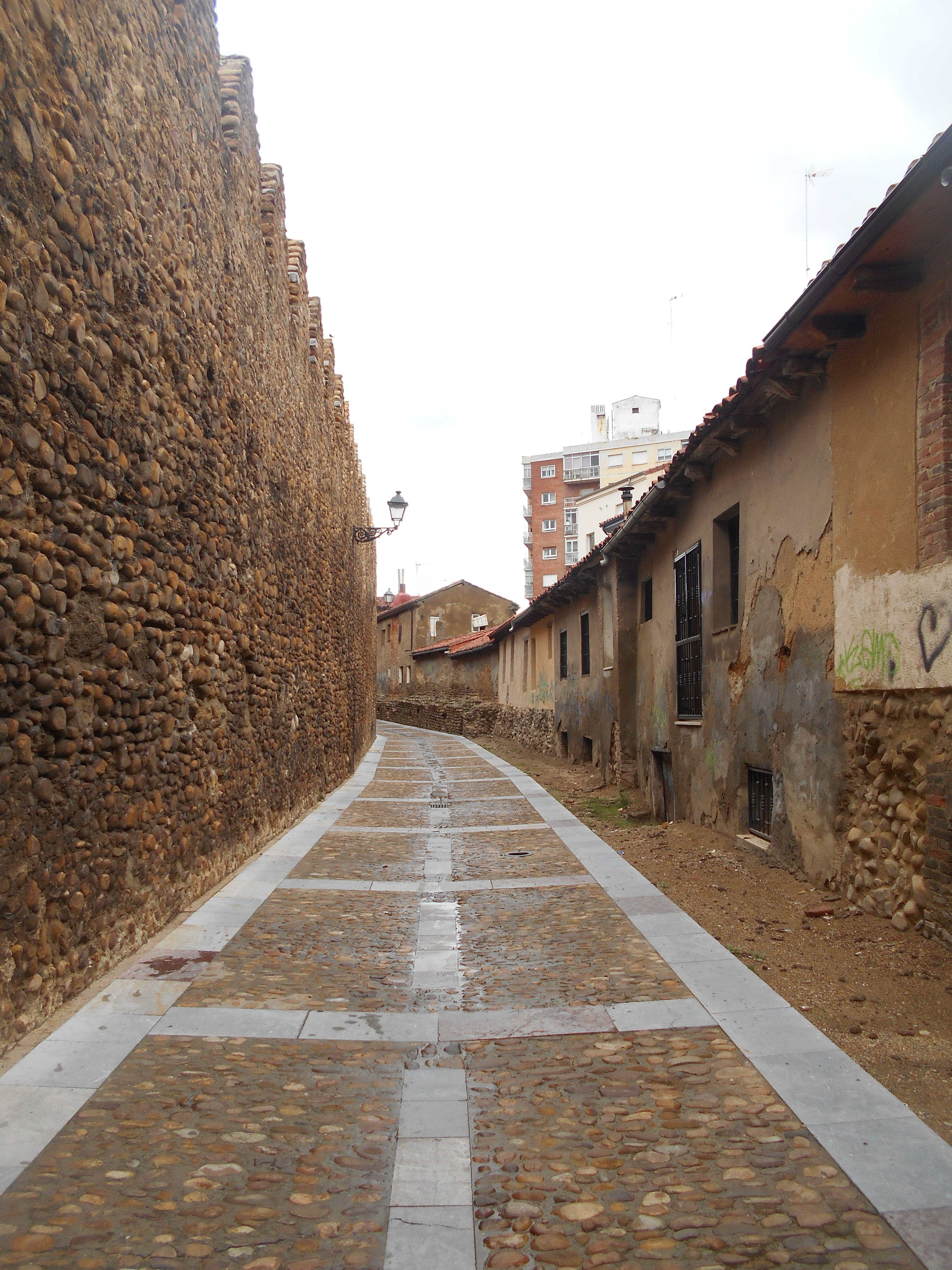 Cerca medieval y casas incrustadas en el lado exterior de esta