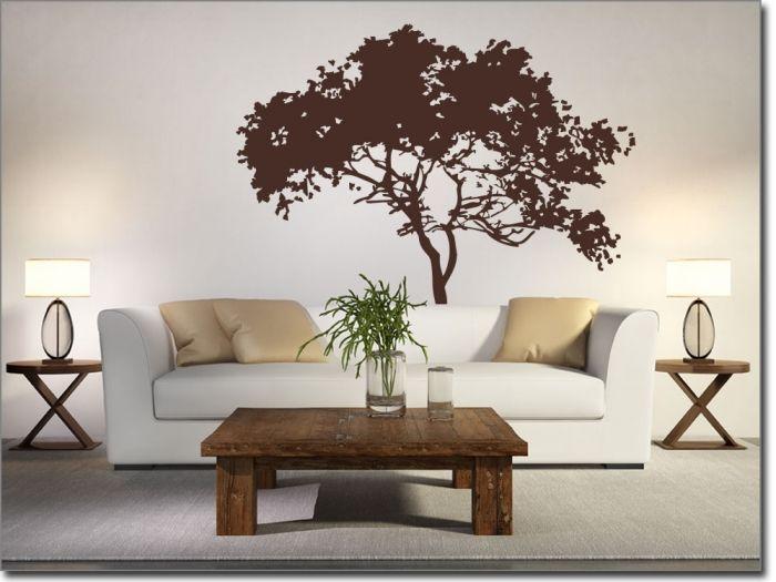 Wandtattoo Savannenbaum, Aufkleber fürs Wohnzimmer Ideen rund