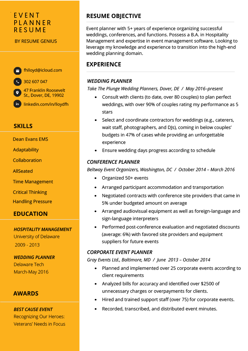 Event Planner Resume Example Tips Resume Genius Event Planner Resume Good Resume Examples Resume Examples