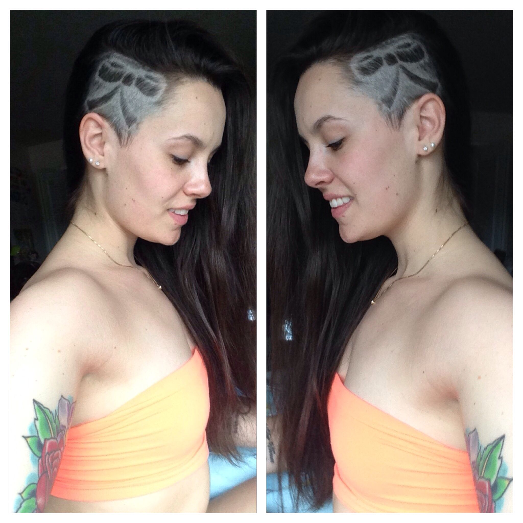 side cute. shaved head. hair design. bow. pretty | ink | pinterest