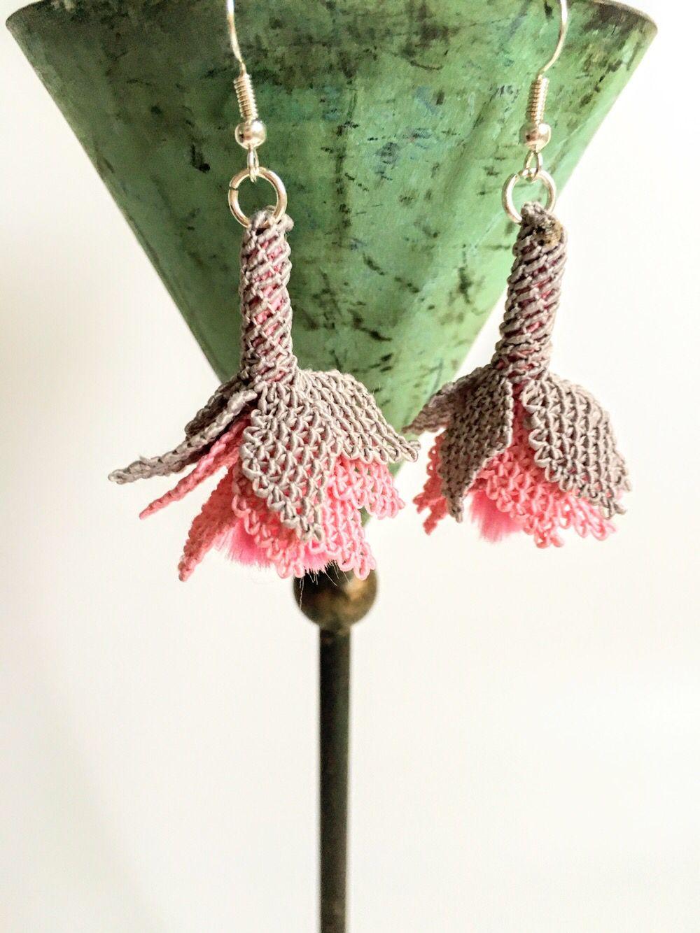 Pink Fuchsia Drop Earrings Unique Flower Jewelry Pink Etsy