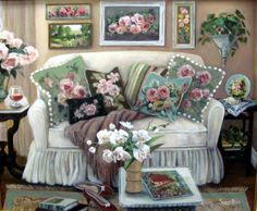 I love barkcloth, and this is a painting I did where I put some backcloth pillows on a whitie couch.