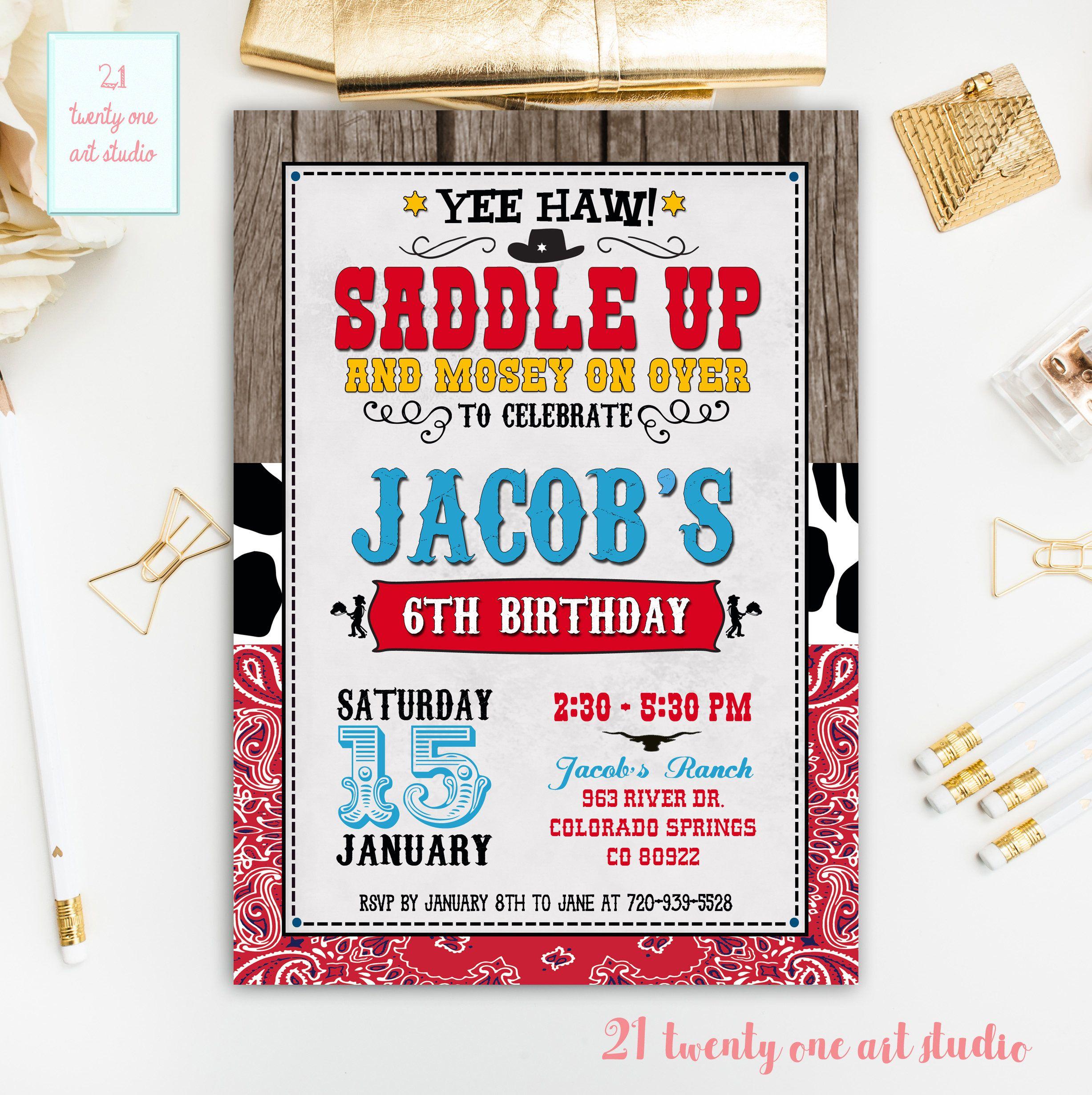Cowboy Birthday Invitation, Western Birthday Invitation, Cowboy ...
