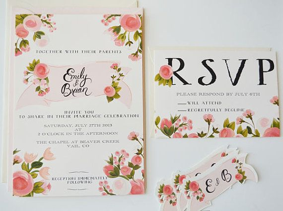 custom hand painted wedding invitation suite/ set by firstsnowfall,