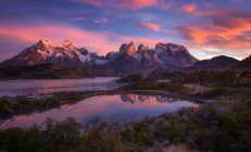 Mountain Lake Sunset Wallpapers Hd With High Definition Resolution 3840x2160 Px 843 33 Kb Torres Del Paine National Park National Parks Mountain Wallpaper