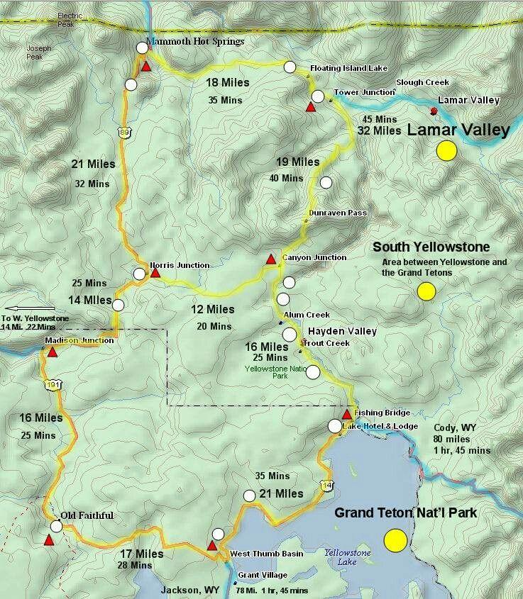 Yelliwstone drive times map   Wanna Be & See   Yellowstone vacation ...