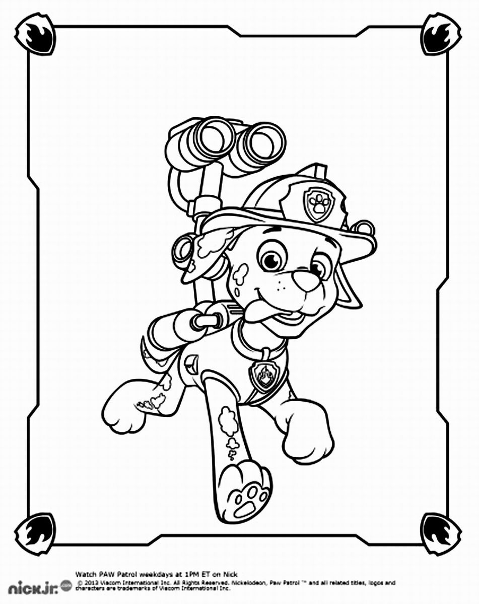 Paw patrol colouring pages free - Marshall Paw Patrol Coloring Pages